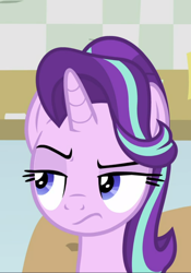 Size: 656x938 | Tagged: safe, screencap, starlight glimmer, pony, unicorn, a horse shoe-in, spoiler:s09e20, cropped, female, lidded eyes, mare, raised eyebrow, solo, starlight is not amused, unamused