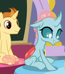 Size: 602x685 | Tagged: safe, screencap, golden crust, ocellus, changedling, changeling, pony, a horse shoe-in, spoiler:s09e20, cropped, female, male, sitting, smiling, solo focus, stallion