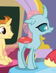 Size: 598x780 | Tagged: safe, screencap, golden crust, ocellus, a horse shoe-in, cropped, lidded eyes, smiling, solo focus