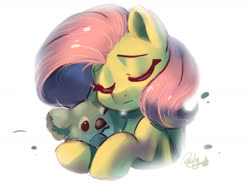 Size: 1600x1200   Tagged: safe, artist:colorfulcolor233, fluttershy, koala, pegasus, pony, bust, cute, eyes closed, female, hug, mare, one eye closed, shyabetes, simple background, solo, white background