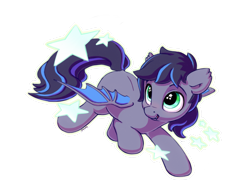 Size: 1400x1100   Tagged: safe, artist:bobdude0, oc, oc only, oc:midnight aegis, bat pony, pony, flying, happy, simple background, smiling, solo, starry eyes, stars, transparent background, wingding eyes