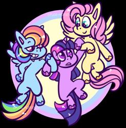 Size: 1203x1225 | Tagged: safe, artist:spuds-mcfrenzy, fluttershy, rainbow dash, twilight sparkle, pony, unicorn, friendship is magic, holding a pony, scene interpretation, simple background, transparent background, unicorn twilight
