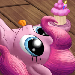 Size: 1920x1920 | Tagged: safe, artist:stellardust, derpibooru exclusive, pinkie pie, earth pony, pony, :p, birthday cupcake, candle, cupcake, female, food, looking up, lying down, mare, smiling, solo, tongue out