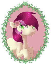 Size: 1024x1280 | Tagged: safe, artist:rue-willings, roseluck, earth pony, pony, colored pupils, cute, cuteluck, eye clipping through hair, eyebrows visible through hair, female, flower, flower in hair, mare, simple background, solo, transparent background