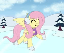 Size: 3000x2500 | Tagged: safe, artist:mrneo, fluttershy, pegasus, pony, clothes, cute, earmuffs, eyes closed, female, high res, ice skates, ice skating, mare, open mouth, scarf, shyabetes, skating, snow, snowfall, solo, tree, winter, winter outfit