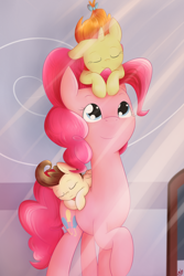 Size: 2000x3000 | Tagged: safe, artist:lilliesinthegarden, pinkie pie, pound cake, pumpkin cake, earth pony, pegasus, pony, unicorn, baby, baby pony, cake twins, crepuscular rays, cute, diapinkes, ear down, eyes closed, female, high res, mare, poundabetes, pumpkinbetes, siblings, sleeping, twins