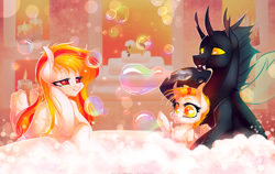 Size: 1500x948   Tagged: safe, artist:limreiart, oc, oc only, changeling, bath, bubble, candle, changeling oc, cute, pegasus oc
