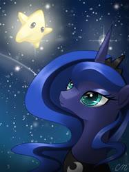 Size: 1024x1366 | Tagged: safe, artist:sunshineshiny, princess luna, pony, bust, cute, female, luma, lunabetes, mare, night, portrait, shooting star, sky, solo, starry night, stars, super mario galaxy