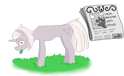 Size: 4832x3000 | Tagged: safe, artist:pony quarantine, zesty gourmand, chewing, eating, grass, grazing, horses doing horse things, newspaper, nudity, ribs, simple background, skinny, surprised, text, transparent background