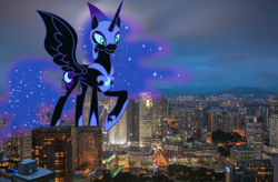 Size: 2048x1340 | Tagged: safe, artist:drakizora, nightmare moon, alicorn, pony, building, city, giant pony, highrise ponies, kuala lumpur, macro, malaysia, mega giant, mega nightmare moon, photo