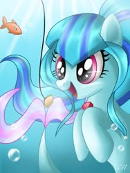 Size: 768x1024 | Tagged: safe, artist:sunshineshiny, sonata dusk, fish, siren, bait, bubble, cute, female, food, gem, hooves to the chest, open mouth, siren gem, solo, sonatabetes, taco, that siren sure does love tacos, underwater
