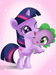 Size: 1024x1366   Tagged: safe, artist:sunshineshiny, spike, twilight sparkle, dragon, pony, unicorn, baby, baby dragon, baby spike, cuddling, cute, duo, female, filly, filly twilight sparkle, hug, mama twilight, one eye closed, spikabetes, twiabetes, unicorn twilight, younger