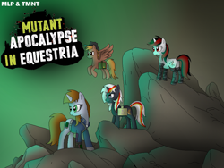 Size: 1024x768 | Tagged: safe, artist:mlptmntdisneykauane, oc, oc:blackjack, oc:calamity, oc:littlepip, oc:velvet remedy, cyborg, pegasus, pony, unicorn, fallout equestria, fallout equestria: project horizons, augmented, bag, clothes, cowboy hat, cyber legs, dashite, fanfic, fanfic art, female, fluttershy medical saddlebag, flying, hat, hooves, horn, male, mare, medical saddlebag, pipbuck, rock, saddle bag, solo, spread wings, stallion, text, vault suit, wings
