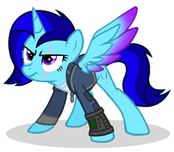 Size: 598x522 | Tagged: safe, artist:mlptmntdisneykauane, oc, oc only, alicorn, pony, fallout equestria, clothes, fanfic, fanfic art, female, hooves, horn, mare, pipbuck, scar, simple background, solo, spread wings, transparent background, vault suit, wings