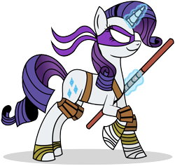 Size: 1808x1712 | Tagged: safe, artist:mlptmntdisneykauane, rarity, pony, unicorn, bandage, donatello, female, glowing horn, hooves, horn, levitation, magic, mare, simple background, smiling, solo, teenage mutant ninja turtles, telekinesis, tmnt 2012, transparent background, weapon