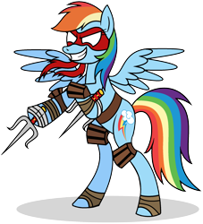 Size: 1940x2136 | Tagged: safe, artist:mlptmntdisneykauane, rainbow dash, pegasus, pony, bandage, bipedal, female, grin, hooves, mare, raphael, simple background, smiling, solo, spread wings, teenage mutant ninja turtles, tmnt 2012, transparent background, weapon, wings