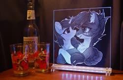 Size: 1700x1101 | Tagged: safe, artist:vasgotec, artist:vird-gi, oc, acrylic plastic, acrylight, cider, craft, engraving, led