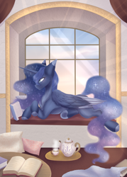 Size: 2401x3353   Tagged: safe, artist:shadow-nights, princess luna, alicorn, pony, book, cheek fluff, chest fluff, colored ears, colored hooves, crepuscular rays, cup, female, high res, mare, pillow, profile, prone, reading, solo, teacup, teapot, two toned wings, window, window seat, wings
