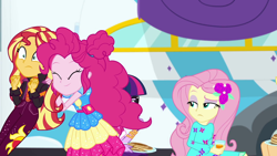 Size: 1920x1080   Tagged: safe, screencap, applejack, fluttershy, pinkie pie, sci-twi, sunset shimmer, twilight sparkle, equestria girls, equestria girls series, sunset's backstage pass!, spoiler:eqg series (season 2), music festival outfit
