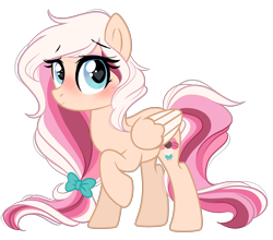 Size: 2597x2282 | Tagged: safe, artist:emberslament, oc, oc only, oc:cake pop, pegasus, pony, blushing, bow, cute, female, hair bow, heart eyes, looking at you, mare, simple background, transparent background, wingding eyes