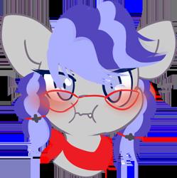 Size: 510x512 | Tagged: safe, artist:fluffire, oc, oc only, oc:cinnabyte, earth pony, pony, adorkable, angry, bandana, blushing, clapping, cute, dork, earth pony oc, embarrassed, glasses, icon, telegram sticker