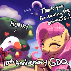 Size: 750x750 | Tagged: safe, artist:lumineko, fluttershy, bird, goose, pegasus, pony, agdq, anniversary, crying, female, mare, parachute, tears of joy, untitled goose game