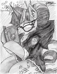 Size: 739x960 | Tagged: safe, artist:petanoprime, twilight sparkle, pony, unicorn, alternate hairstyle, blush sticker, blushing, book, clothes, female, glasses, grayscale, hair bun, hairpin, hoodie, mare, monochrome, signature, solo, traditional art, unicorn twilight