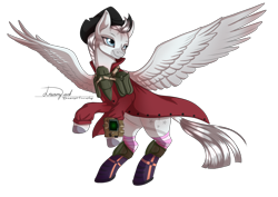 Size: 2912x2059 | Tagged: safe, artist:dreamyartcosplay, oc, oc only, oc:crystal eclair, pegasus, pony, fallout equestria, boots, clothes, hat, looking back, pipbuck, rearing, shoes, signature, simple background, solo, transparent background