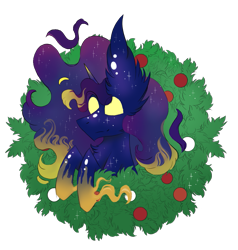 Size: 791x830 | Tagged: safe, artist:hunterthewastelander, oc, oc only, oc:dusk wind, pony, unicorn, bust, christmas wreath, commission, ear fluff, ethereal mane, male, simple background, solo, spread wings, stallion, starry mane, transparent background, white eyes, wings, wreath, ych result