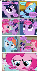 Size: 868x1592 | Tagged: safe, artist:dziadek1990, edit, edited screencap, screencap, pinkie pie, rainbow dash, twilight sparkle, comic:ponies and d&d, bad pun, comic, conversation, dialogue, dungeons and dragons, emote story:ponies and d&d, pen and paper rpg, pun, reference, rpg, screencap comic, slice of life, text, zork