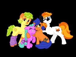 Size: 2250x1688 | Tagged: safe, artist:minty joy, oc, oc:minty joy, oc:ouch dinw, oc:pineapone, oc:twist cable, earth pony, pony, unicorn, couple, group photo