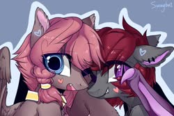 Size: 1280x853   Tagged: safe, artist:swaybat, oc, oc only, bat pony, pegasus, pony, bat pony oc, blue background, bust, choker, colored ears, cute, cute little fangs, duo, ear piercing, earring, fangs, female, floppy ears, hairband, heart, jewelry, looking at you, mare, one eye closed, open mouth, outline, piercing, signature, simple background, slit eyes, smiling, spread wings, wing claws, wings
