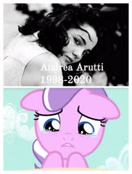 Size: 3106x4096 | Tagged: safe, diamond tiara, human, andrea arruti, crying, irl, irl human, mexico, photo, rest in peace, voice actor