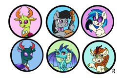 Size: 3000x1920 | Tagged: safe, artist:dawn-designs-art, autumn blaze, dj pon-3, octavia melody, pharynx, princess ember, thorax, vinyl scratch, changedling, changeling, dragon, earth pony, kirin, pony, unicorn, changedling brothers, cute, digital art, king thorax, prince pharynx