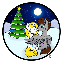 Size: 1500x1500 | Tagged: safe, artist:dawn-designs-art, oc, oc:jezza, oc:tecuro, pegasus, pony, unicorn, christmas, christmas tree, circle, circle background, hearthswarming, holiday, tree