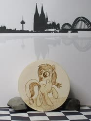 Size: 1280x1708 | Tagged: safe, artist:malte279, oc, oc:colonia, earth pony, box, cologne, craft, pyrography, skyline, traditional art