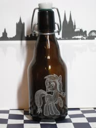 Size: 1280x1707 | Tagged: safe, artist:malte279, oc, oc:colonia, earth pony, beer bottle, bottle, cologne, craft, glass engraving, skyline