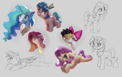 Size: 3000x1913 | Tagged: safe, artist:vanillaghosties, cozy glow, fluttershy, pear butter, pinkie pie, princess celestia, songbird serenade, sunset shimmer, twilight sparkle, alicorn, earth pony, pegasus, pony, unicorn, my little pony: the movie, spoiler:my little pony movie, bow, bust, female, filly, floppy ears, grin, hair bow, lineart, looking at you, lying down, mare, peytral, pinkamena diane pie, shrunken pupils, simple background, smiling, twilight sparkle (alicorn), unamused