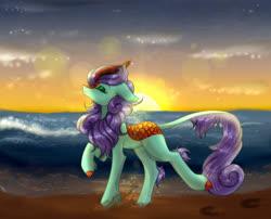 Size: 4960x4000 | Tagged: safe, artist:quasafox, oc, oc:blazing frost, kirin, beach, cloud, lens flare, ocean, sun, sunset