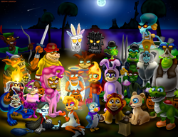 Size: 4300x3323 | Tagged: safe, artist:jac59col, pinkie pie, vampire, yoshi, aku aku, angel, baby t, ballerina, bunny suit, clothes, coco bandicoot, crash bandicoot, crunch bandicoot, dingodile, doc brown, dr. neo cortex, full moon, gladiator, halloween, holiday, jimmy neutron, kessie, komodo joe, komodo moe, laurel and hardy, marilyn monroe, moon, n brio, n gin, n tropy, nala, needles kane, night, nina cortex, nitrous oxide, papu papu, penta penguin, pinstripe potoroo, polar, pura, ripper roo, robin hood, shrek, simba, squidward tentacles, superman, tawna bandicoot, the lion king, tiny tiger, trick or treat, uka uka, yin yang