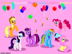 Size: 960x720 | Tagged: safe, artist:jac59col, applejack, fluttershy, pinkie pie, rainbow dash, rarity, twilight sparkle, alicorn, anniversary, balloon, confetti, hat, mane six, party cannon, party hat, twilight sparkle (alicorn)