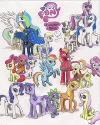 Size: 1644x2048 | Tagged: safe, artist:jac59col, apple bloom, applejack, big macintosh, derpy hooves, fluttershy, granny smith, pinkie pie, princess cadance, princess celestia, princess luna, rainbow dash, rarity, scootaloo, shining armor, spike, sweetie belle, twilight sparkle, zecora