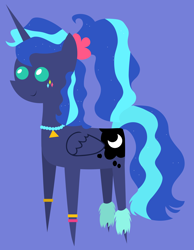 Size: 4024x5189 | Tagged: safe, artist:egor418, princess luna, alicorn, pony, between dark and dawn, spoiler:s09e13, 80s, 80s princess luna, blue background, female, mare, pointy ponies, simple background, solo