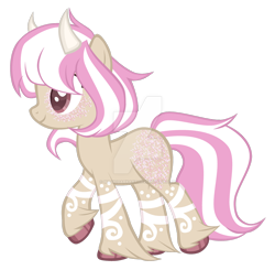 Size: 1280x1254 | Tagged: safe, artist:magicdarkart, oc, earth pony, pony, deviantart watermark, female, horns, mare, obtrusive watermark, simple background, solo, transparent background, watermark