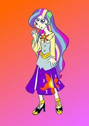 Size: 905x1280   Tagged: safe, artist:dizzyspot, princess celestia, twilight sparkle, oc, oc:mystic sunrise, alicorn, human, equestria girls, fusion, principal celestia, solo, twilight sparkle (alicorn)