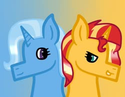 Size: 800x623 | Tagged: safe, artist:lightningbolt39, sunset shimmer, trixie, pony, unicorn, female, lesbian, looking at each other, looking back, mare, shipping, smiling, suntrix