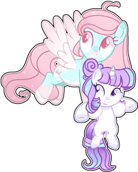 Size: 852x1064 | Tagged: safe, artist:kurosawakuro, oc, oc only, oc:amethyst dreamer, oc:lighty, pegasus, pony, unicorn, base used, female, filly, holding a pony, magical lesbian spawn, mare, offspring, parent:fancypants, parent:pinkie pie, parent:rainbow dash, parent:rarity, parents:pinkiedash, parents:raripants, simple background, transparent background