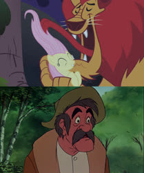Size: 1808x2159 | Tagged: safe, edit, screencap, fluttershy, manny roar, human, manticore, pegasus, pony, friendship is magic, hunter, licking, meme, reaction image, shocked, the fox and the hound, tongue out