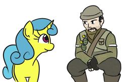 Size: 790x514 | Tagged: safe, artist:jargon scott, lemon hearts, human, pony, unicorn, battlefield, battlefield 3, colored, parody, pet sounds, soldier, video game crossover