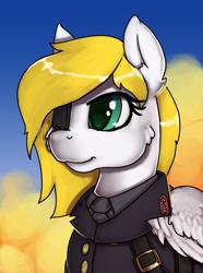 Size: 2140x2878 | Tagged: safe, artist:empressbridle, oc, oc:swift wing, pegasus, pony, equestria at war mod, bust, clothes, eyepatch, female, feral, mare, portrait, uniform, wings